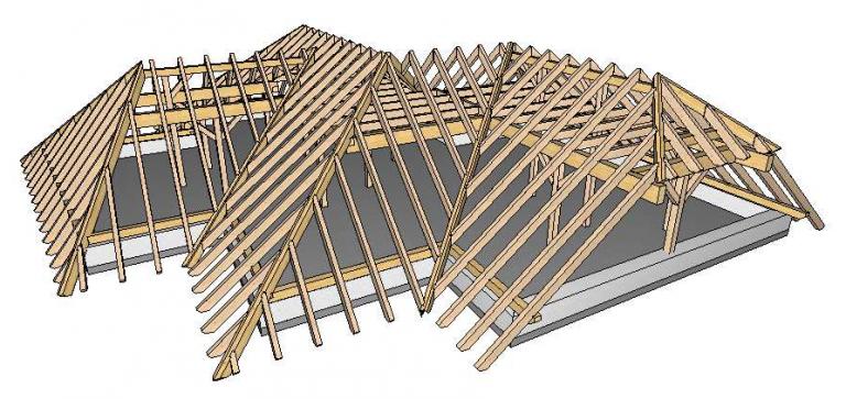 3D-Ansicht eines Dachstuhls
